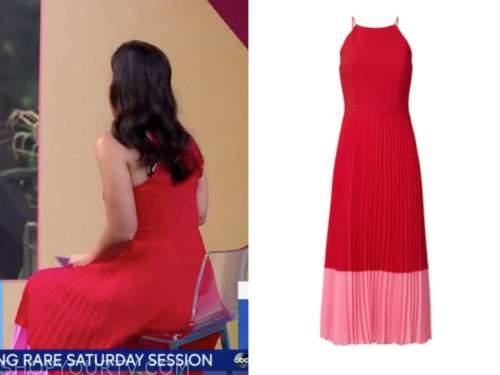 eva pilgrim, good morning america, red and pink pleated colorblock dress