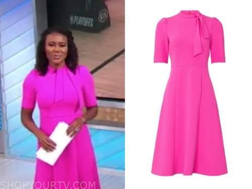 janai norman, good morning america, hot pink tie neck dress