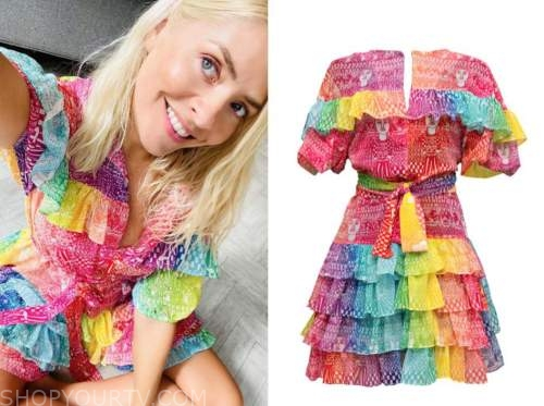 holly willoughby, rainbow multicolor ruffle dress