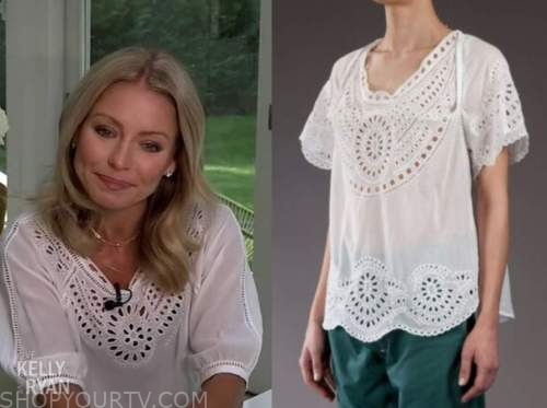 kelly ripa, live with kelly and ryan, white eyelet top
