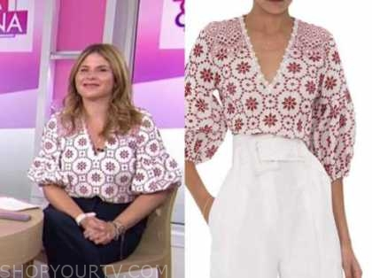 jenna bush hager, the today show, red and white eyelet top