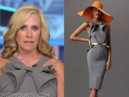 melissa francis, outnumbered, grey ruffle halter dress