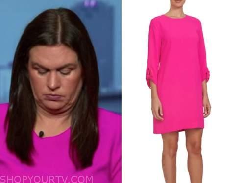 sarah huckabee sanders, hot pink shift dress, outnumbered