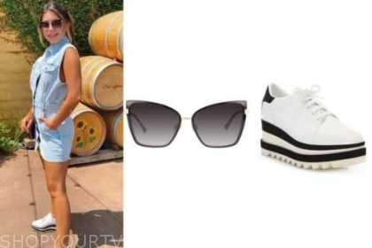 hannah ann sluss, the bachelor, sunglasses, platform sneakers, denim dress