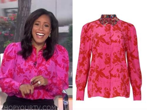 sheinelle jones, the today show, pink and red printed blouse
