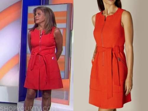 hoda kotb, red zip-front dress, the today show