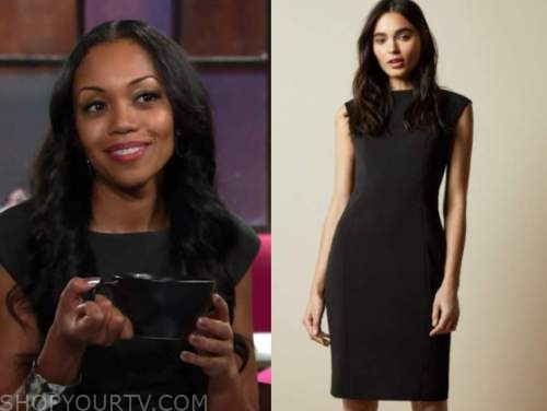 amanda sinclair, the young and the restless, mishael morgan, black sheath dress
