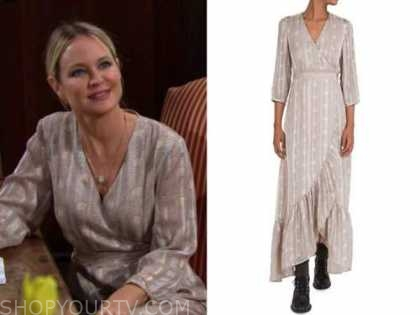 sharon newman, sharon case, the young and the restless, printed wrap asymmetric dress