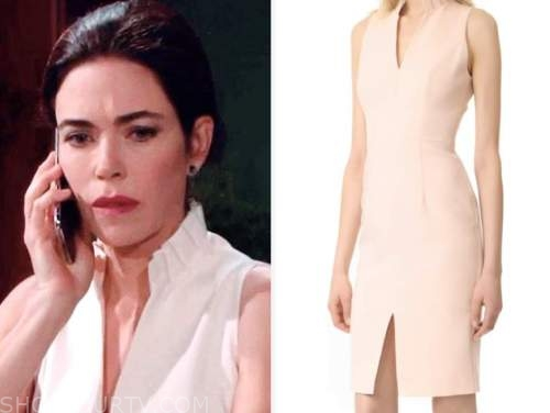 victoria newman, amelia heinle, the young and the restless, stand collar sheath dress