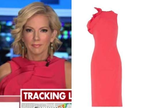 shannon bream, outnumbered, coral ruffle sheath dress