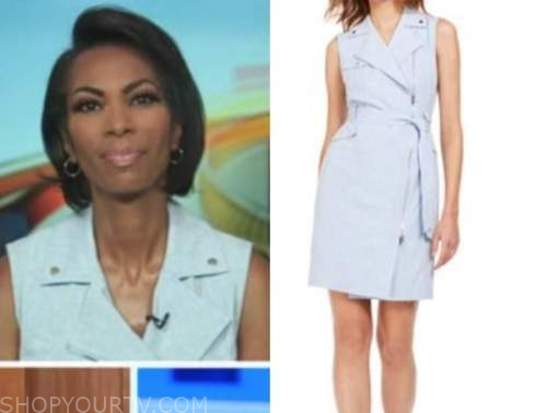 harris faulkner, outnumbered, blue moto dress