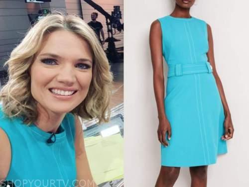 charlotte hawkins, good morning britain, turquoise blue sheath dress