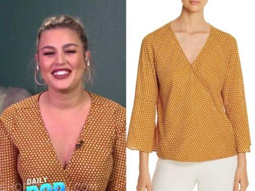 carissa culiner, e! news, yellow polka dot top