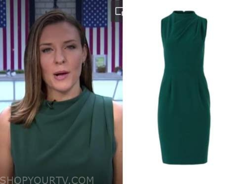mary bruce, good morning america, green drape sheath dress