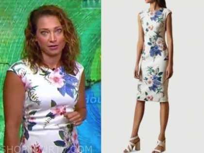 ginger zee, white floral sheath dress, good morning america