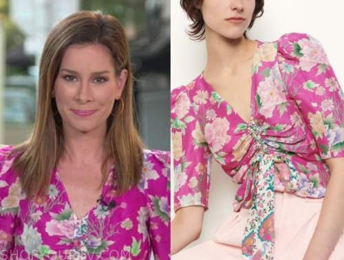 rebecca jarvis, pink floral top, good morning america