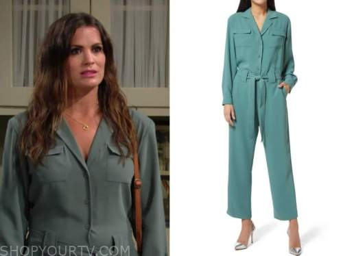 chelsea newman, melissa claire egan, the young and the restless, grey jumpsuit