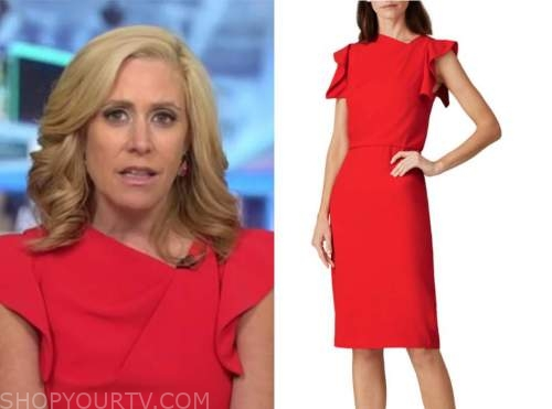melissa francis, outnumbered, red asymmetric ruffle sheath dress