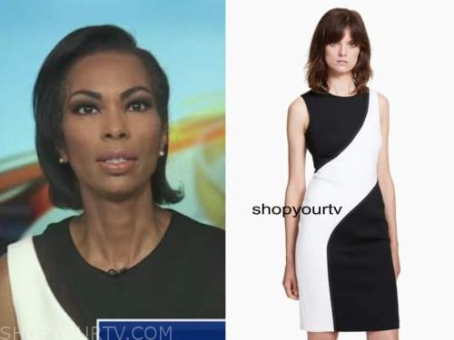 harris faulkner, outnumbered, black and white colorblock sheath dress