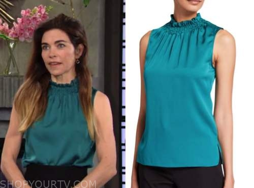 victoria newman, teal blouse, the young and the restless,