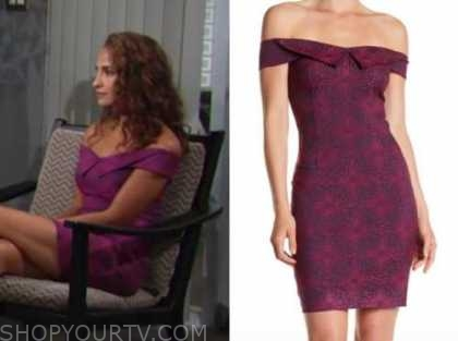 lily winters, the young and the restless, purple off-the-shoulder dress, christel khalil