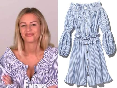 morgan stewart, E! news, blue and white striped off-the-shoulder dress