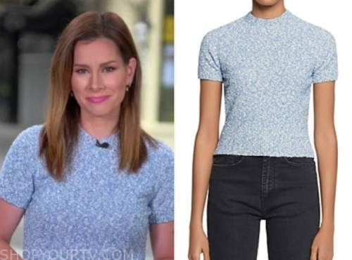 rebecca jarvis, blue short sleeve sweater, good morning america