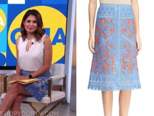 cecilia vega, blue crochet lace skirt, good morning america