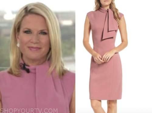 martha maccallum, the five, pink tie neck dress