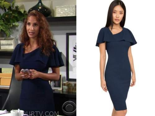 lily winters ashby, the young and the restless, navy blue dress
