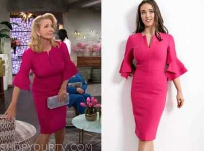 nikki newman, melody thomas scott, the young and the restless, pink bell sleeve dress