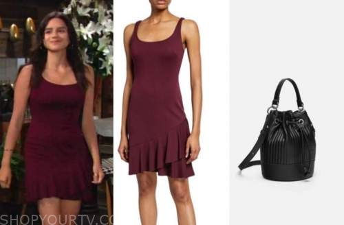 lola rosales, the young and the restless, burgundy dress s,