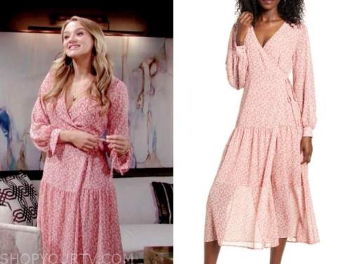 summer newman, pink floral wrap dress, the young and the restless