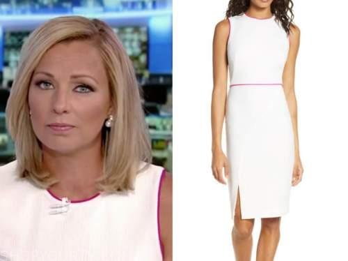 sandra smith, america's newsroom, white and pink contrast trim sheath dress
