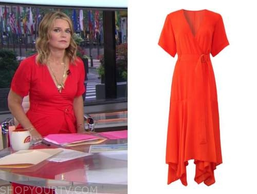 savannah guthrie, red wrap midi dress, the today show