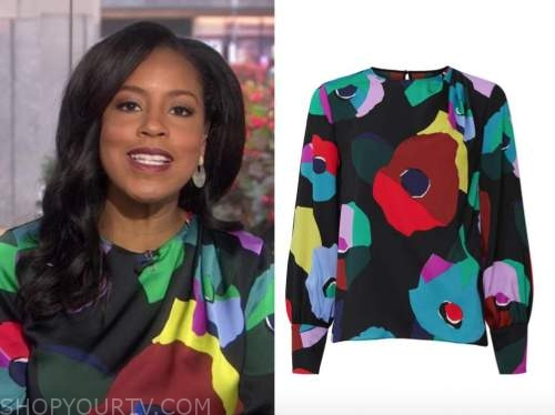sheinelle jones, the todays show, black floral silk blouse