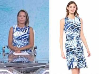 dylan dreyer, the today show, blue and white palm dress