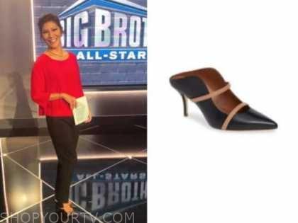 julie chen, big brother all stars, black and beige mule heels