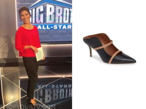 julie chen, big brother all stars, black and beige mule heels