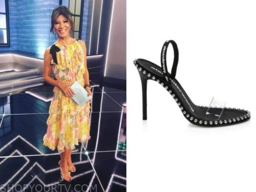 julie chen, studded sandals, floral dress, big brother all stars