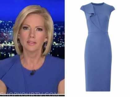 shannon bream, fox news at night, blue ruffle sheath dress
