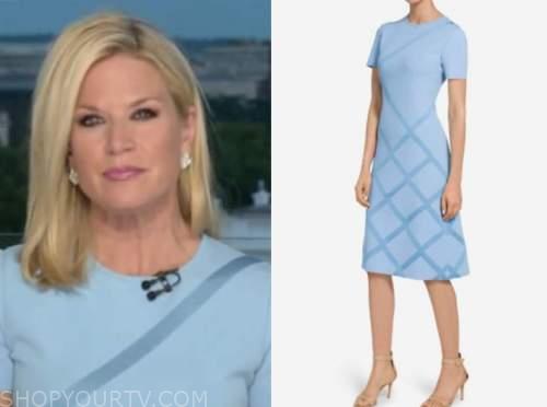 martha maccallum, the story, blue knit stripe dress
