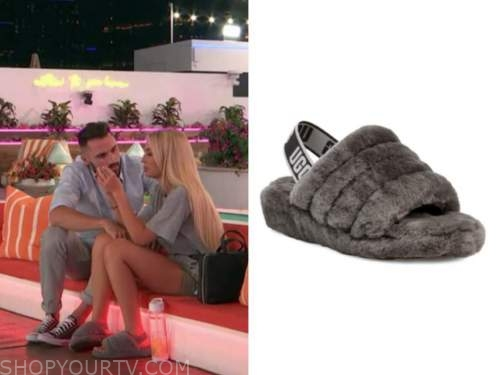 mackenzie, love island usa, grey slide fur slippers