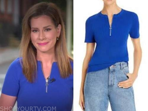 rebecca jarvis, good morning america, blue knit zip-front top