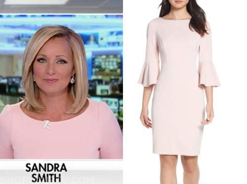 sandra smith, america's newsroom, blush pink bell sleeve dress