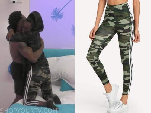 justine, love island usa, camo stripe leggings