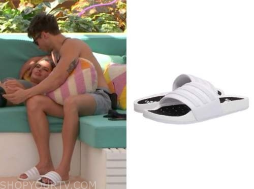 carrington, love island usa, white slide sandals