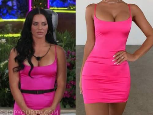kaitlynn, hot pink satin mini dress, love island usa
