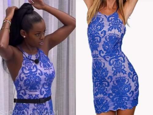 justine, love island usa, blue lace halter dress