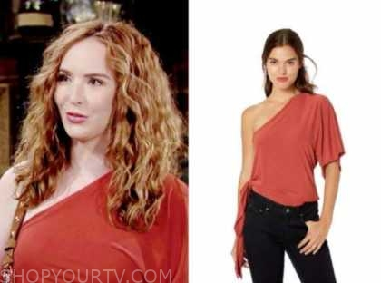 mariah copeland, camryn grimes, red one-shoulder top, the young and the restless